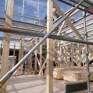 富士吉田市富士見4丁目 W.M様邸建て方工事開始です。